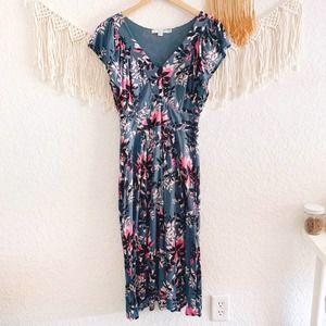 Boden Floral Plunge Neck Midi Dress